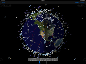 GoSatWatch is a useful App that tracks satellites in real time. This image reveals all of the satellites in our area at 7:00 pm this evening. The App allows users to click on any satellite to discover its speed, altitude, distance, and location in the sky relative to the user. Thank GJH member Mike Maurer for alerting us to this gem.