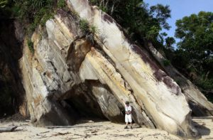Vietnamese Geologist in front of an uplifted and tilted transgressive sequence of sandstones that prograded out into a Tertiary foreland basin with higher energy than the quieter, slower deposition of the Phosphoria Formation which occurred in a much older foreland basin in North America.  Image captured in northern Borneo by GJH member David Weichman.