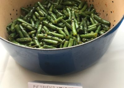 Petrified Wyoming Sesame Seeds over Spicy Honey Green Beans